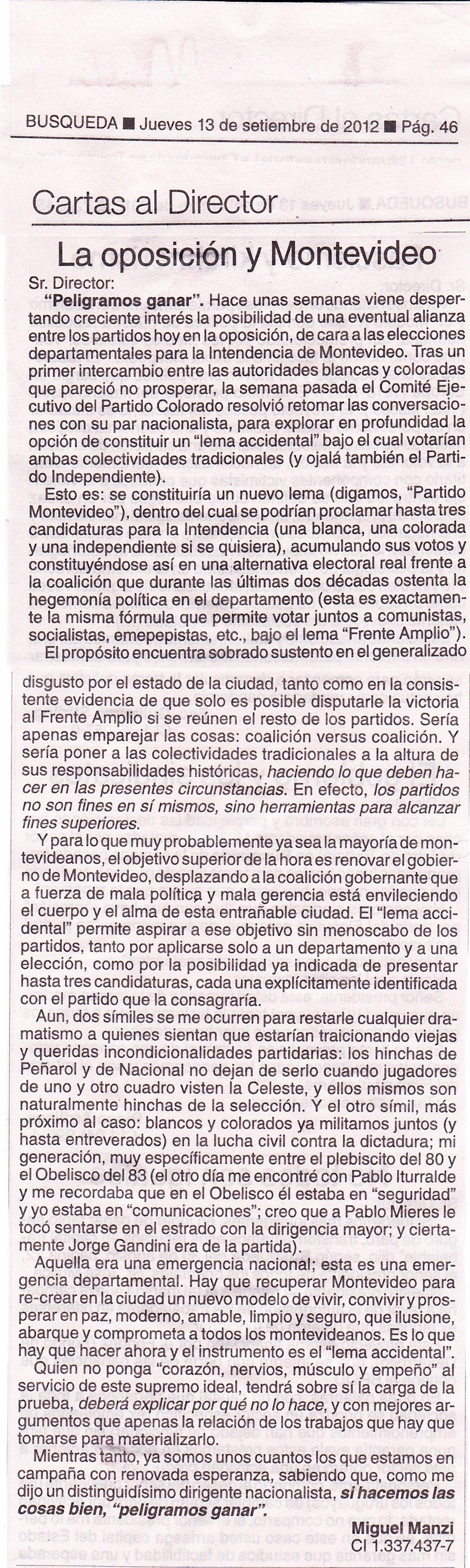 Carta Búsqueda – Alianza partidaria para Montevideo